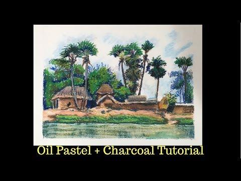 Oil Pastel over Charcoal wash – Art Tutorial – Rural Landscape
