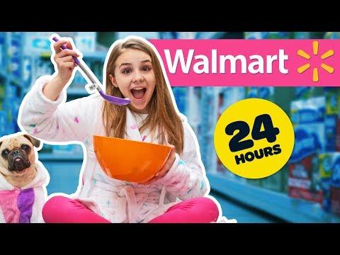 24 HOUR OVERNIGHT CHALLENGE IN WALMART! **SECRET FORT
