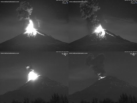 Espectacular explosión nocturna del Volcán Popocatépetl 30 de marzo 2016 4:31 am