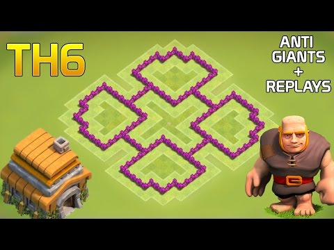 CLASH OF CLANS - BEST TH6 FARMING BASE WITH REPLAYS (ANTI - GIANTS)| COC TH6 DEFENSE BASE 2016