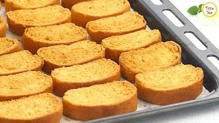 Homemade Toast Biscuit /Milk Rusk Recipe by Tiffin Box for kids | Sweet Bread Rusk/ Tea rusk Recipe