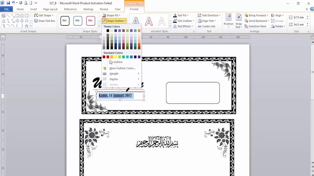 Cara Membuat Undangan Kenduri Menggunakan Microsoft Word 2010 Youtube