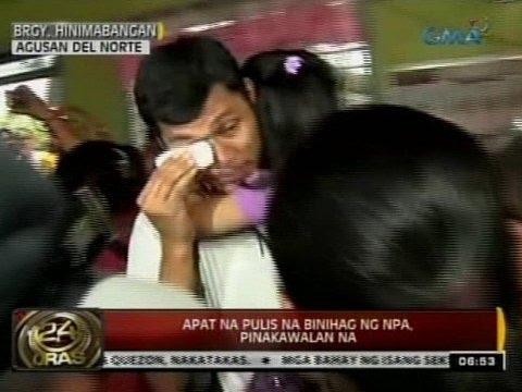 24 Oras: 4 Na Pulis Na Binihag Ng NPA Sa Surigao Del Norte, Pinakawalan Na