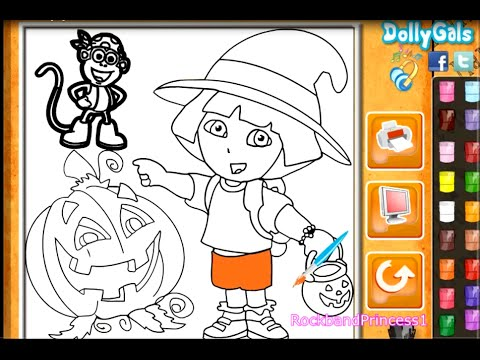 Dora Painting Games Halloween Coloring Pages