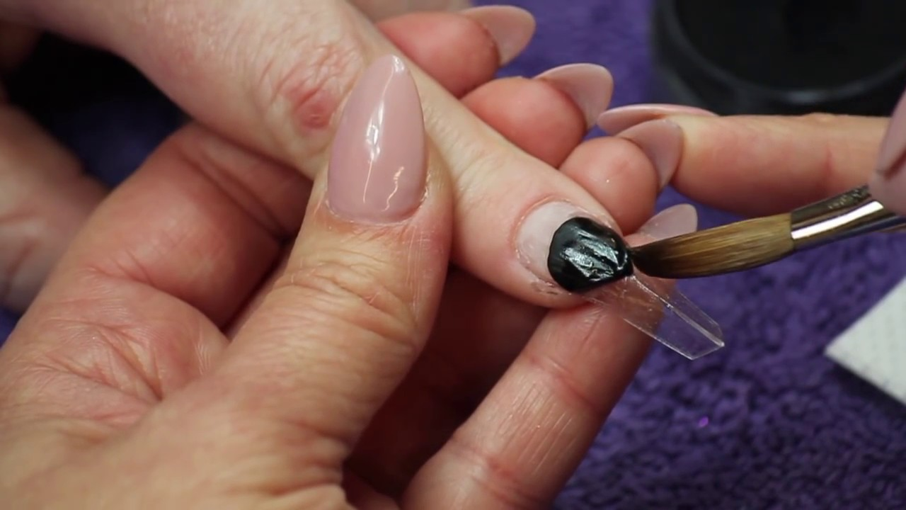 NSI Nails: Reverse Chevron Edge Shaped Nails - YouTube