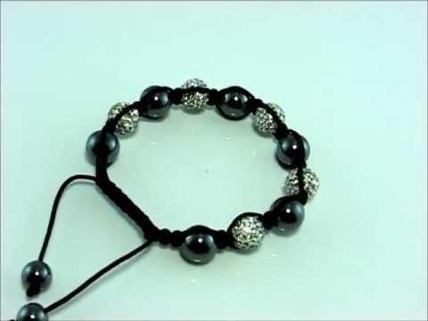 Shamballa White Crystal and Grey Ball Bead Bracelet