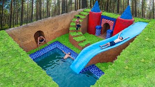 Building Water Slide Park Into Underground Swimming Pool and Underground House