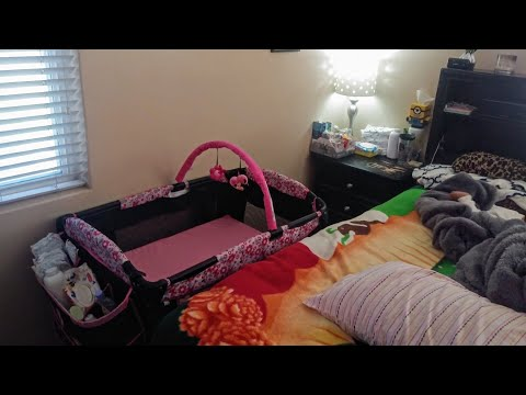 Baby Nursery Setup In Small Room With Minnie Mouse Playard