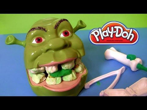 Play Doh Shrek 2 Rotten Root Canal Playset Dentist Dr Drill N Fill Play Dough Comparison toys Review