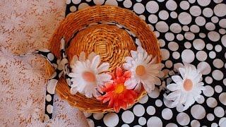 Плетение из газет шляпка мастер класс   hat weaving newspapers periódicos de tejer