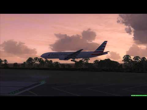 American Airlines 777-200ER morning approach Diego Garcia