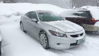 2009 Honda Accord V6 Coupe Snow Test Drive w/ Yokohama Ice Guard's