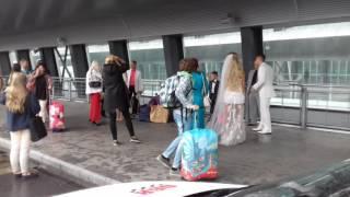 Пьяная от счастья невеста в Пулково кидается букетом в пассажиров