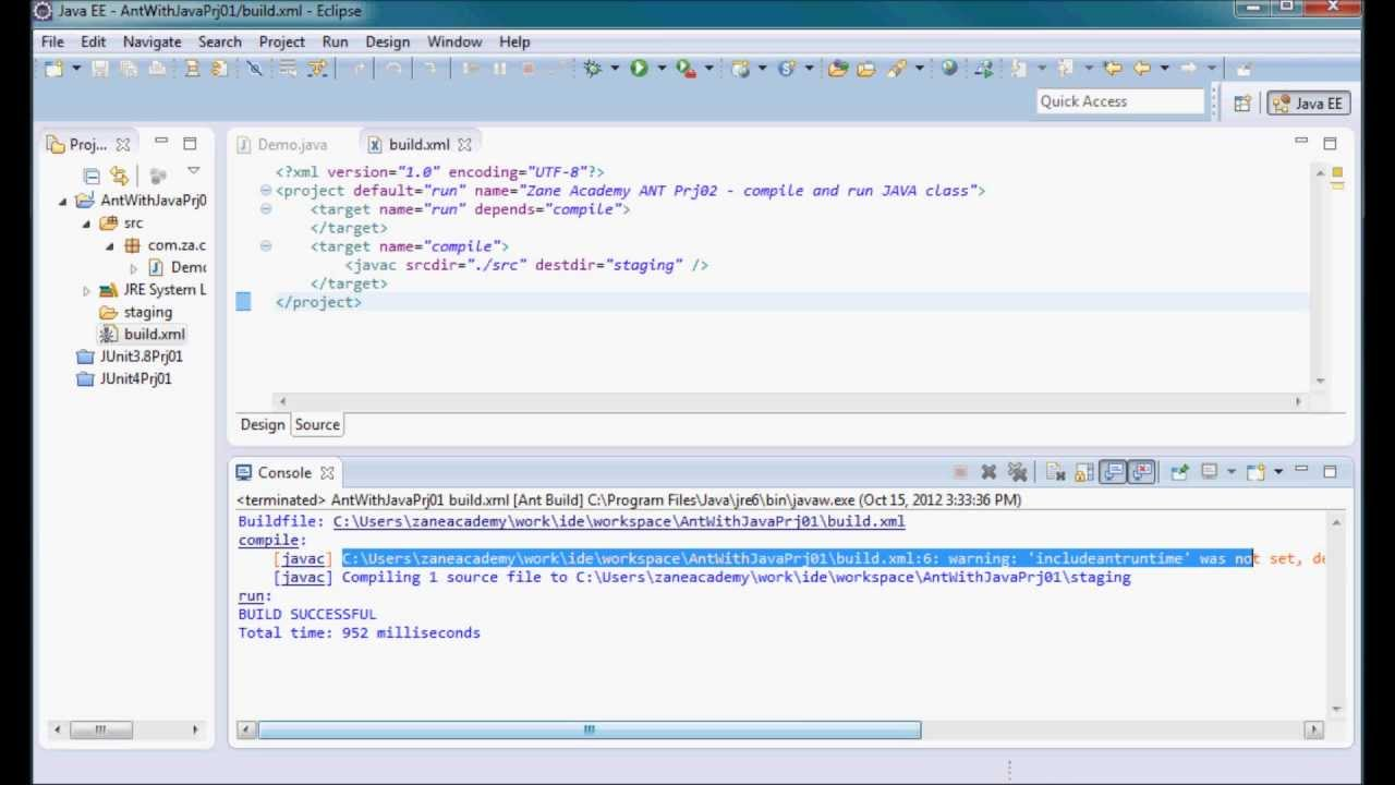 ANT Tutorial [22] - Compile and Run JAVA using ANT