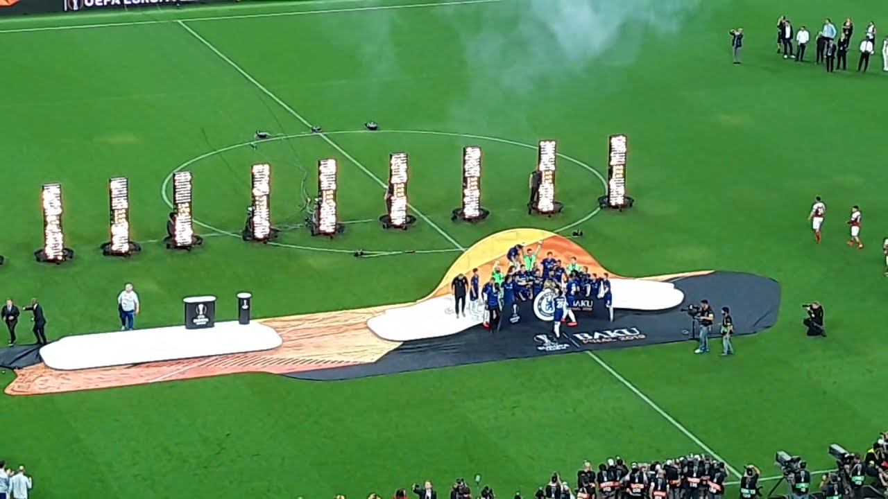 Chelsea get the medals and lift the trophy as UEFA Europa League champions 2019 in Baku