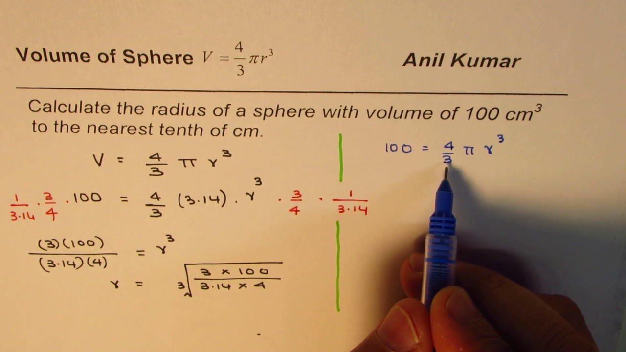 Reverse Calculation to Find radius of Sphere from Volume