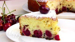Самый Простой Пирог на кефире с ВИШНЕЙ(черешней)/Быстро Вкусно!