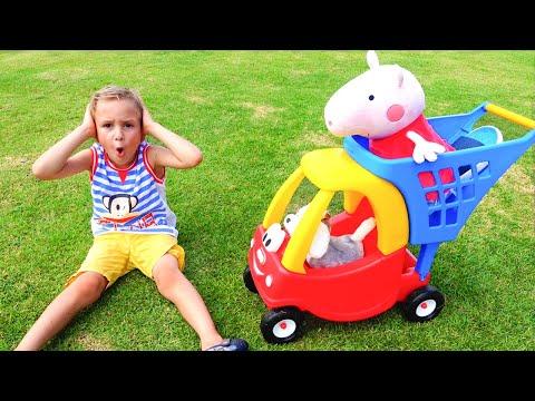 Vlad and mama walking at farm sheep Family fun playtime