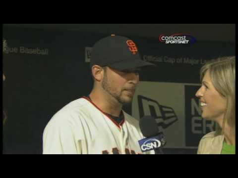 Giants' Jonathan Sanchez after his no-hitter, July 10th, 2009