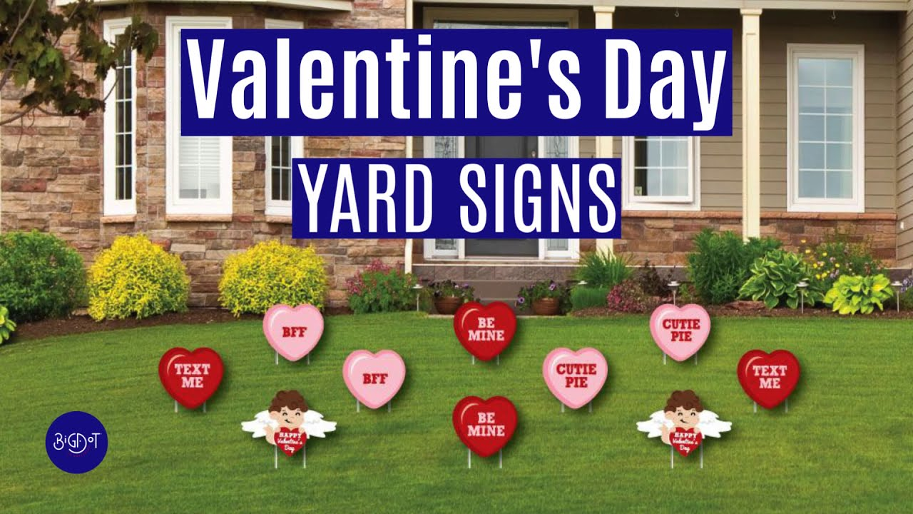 LSKOO Valentines Day Decorations Outdoor,5Pack Love Cute Cupid Valentines Hearts Corrugated Yard Signs with Stake Valentines Yard Lawn Decorations