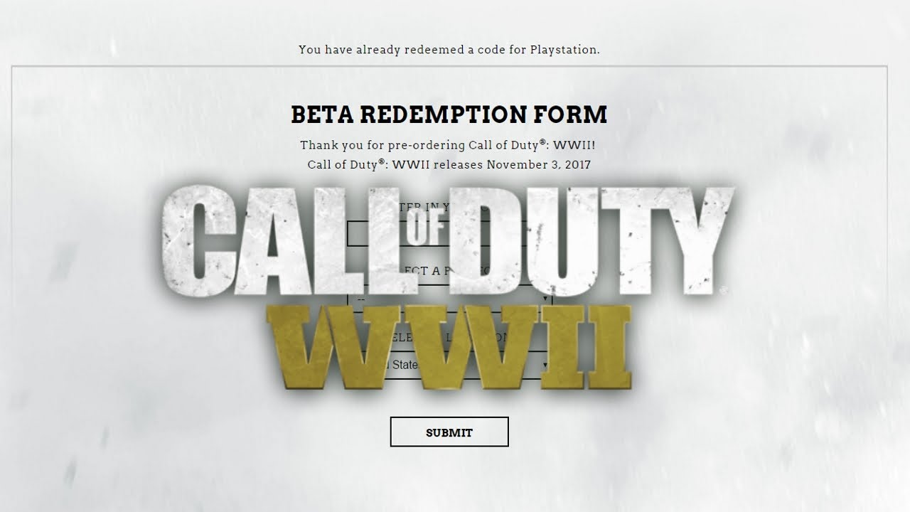 Pre order code recovery form - Call Of Duty Wwii Beta How To Sign Up Check Your Status Cod Wwii