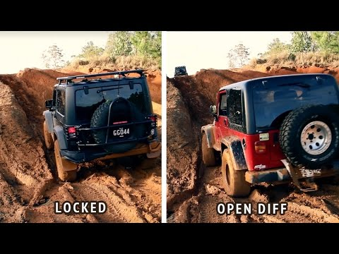 Jeep With ARB Air Locker Vs Open Differential Muddy Offroad 4x4