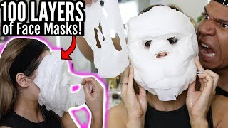 100 LAYERS OF FACE MASKS CHALLENGE! WTF *Extremely Satisfying*