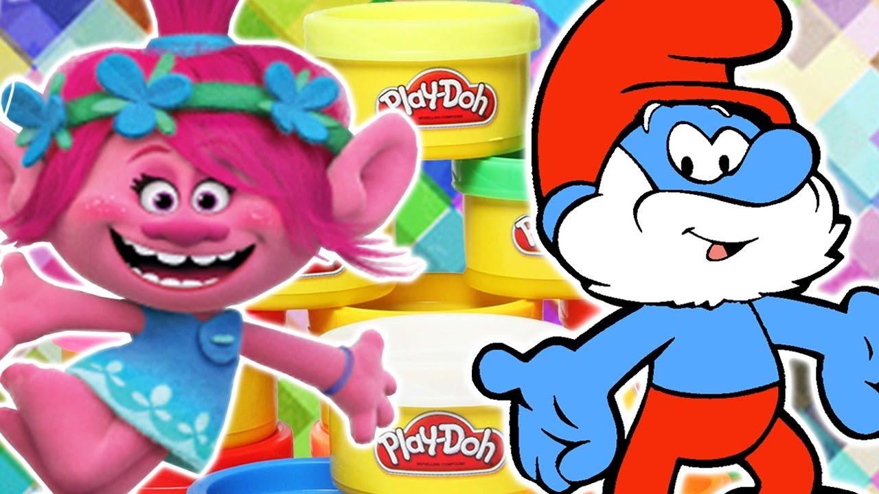 how to make play doh papa smurf and poppy troll smurfs trolls