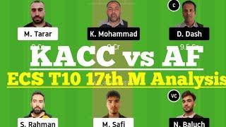 KACC vs AF 17th Match Dream11, KACC vs AF Dream 11 Today Match, KACC vs AF Dream11 Team Analysis
