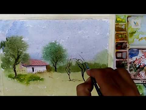 Watercolor for kids : A simple house scenery step by step