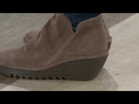 FLY London Suede Ruched Ankle Boots - Yip on QVC