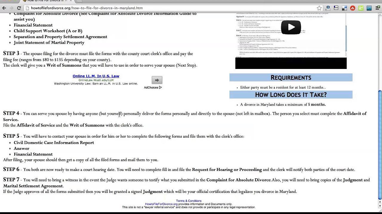 Uncategorized Divorce Worksheet how to file for divorce in maryland