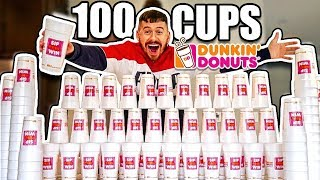 100 CUPS OF COFFEE!! *DUNKIN DONUTS SIP PEEL WIN JACKPOT CHALLENGE*