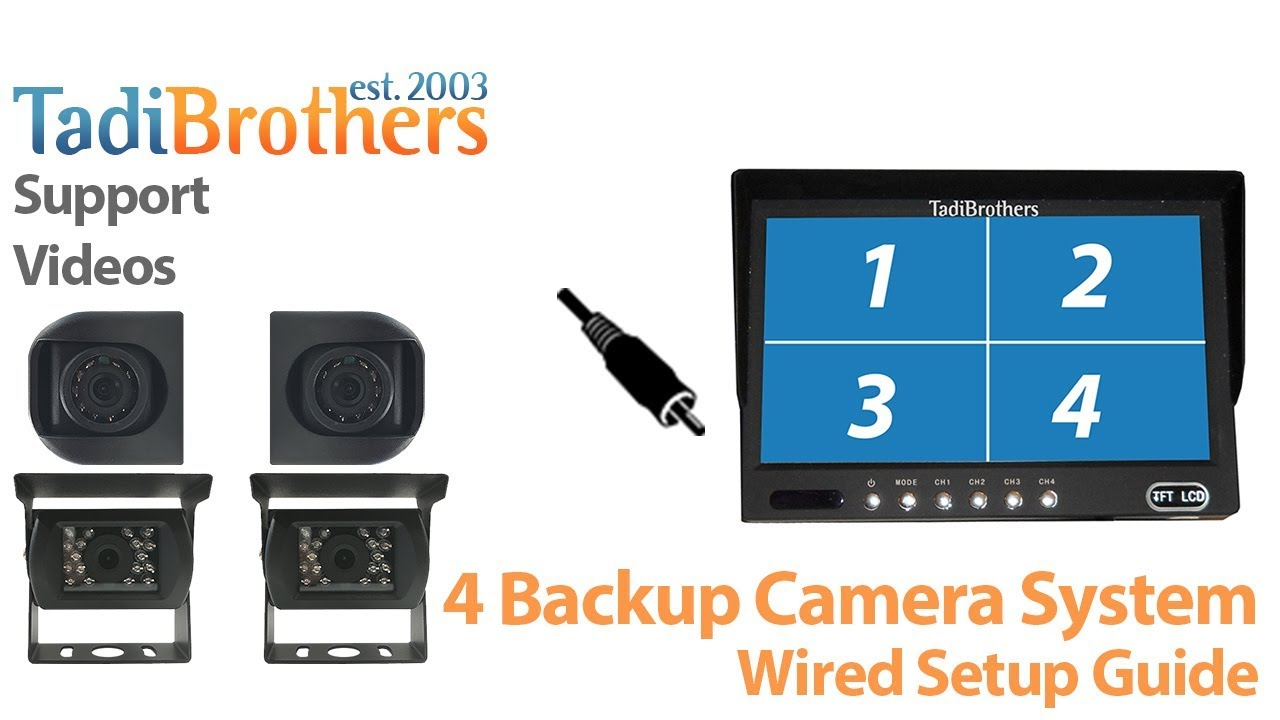4 backup Camera observation system with a wired connection - YouTube