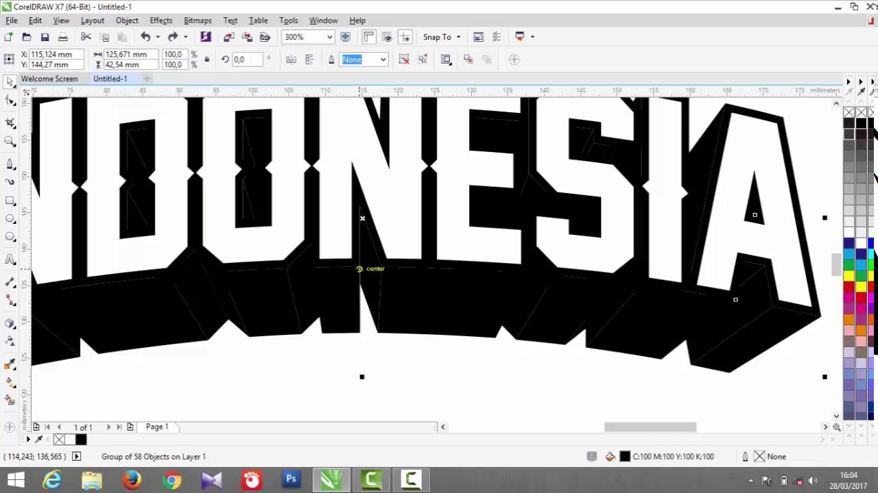 Tutorial CorelDraw X7 - Membuat text 3D dengan mudah - YouTube