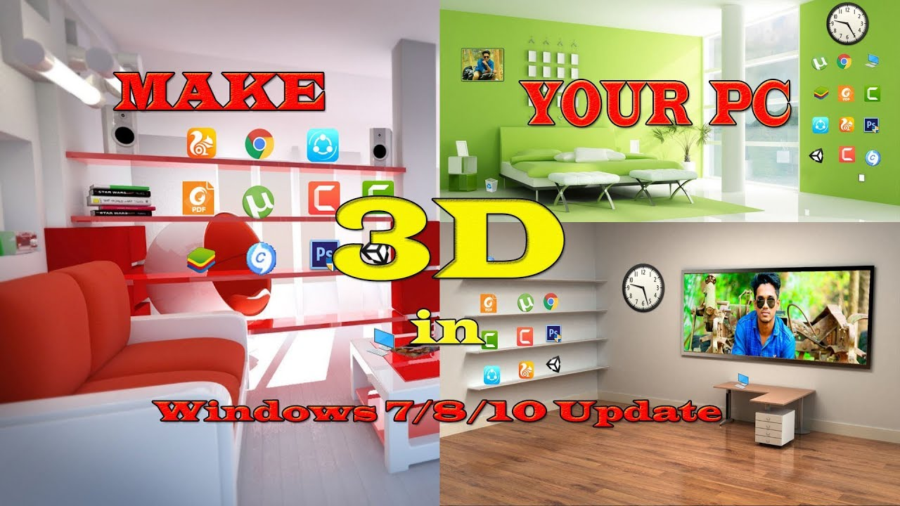 How to make 3D Desktop in windows 7/8/10 [BANGLA]