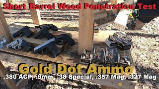 Short Barrel Wood Penetration Test- Gold Dot Ammo- .380 ACP, .9mm, .38 Special, .357 Mag, .327 Mag