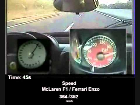 Ferrari Enzo vs McLaren F1 Speedo Cam Acceleration Comparison