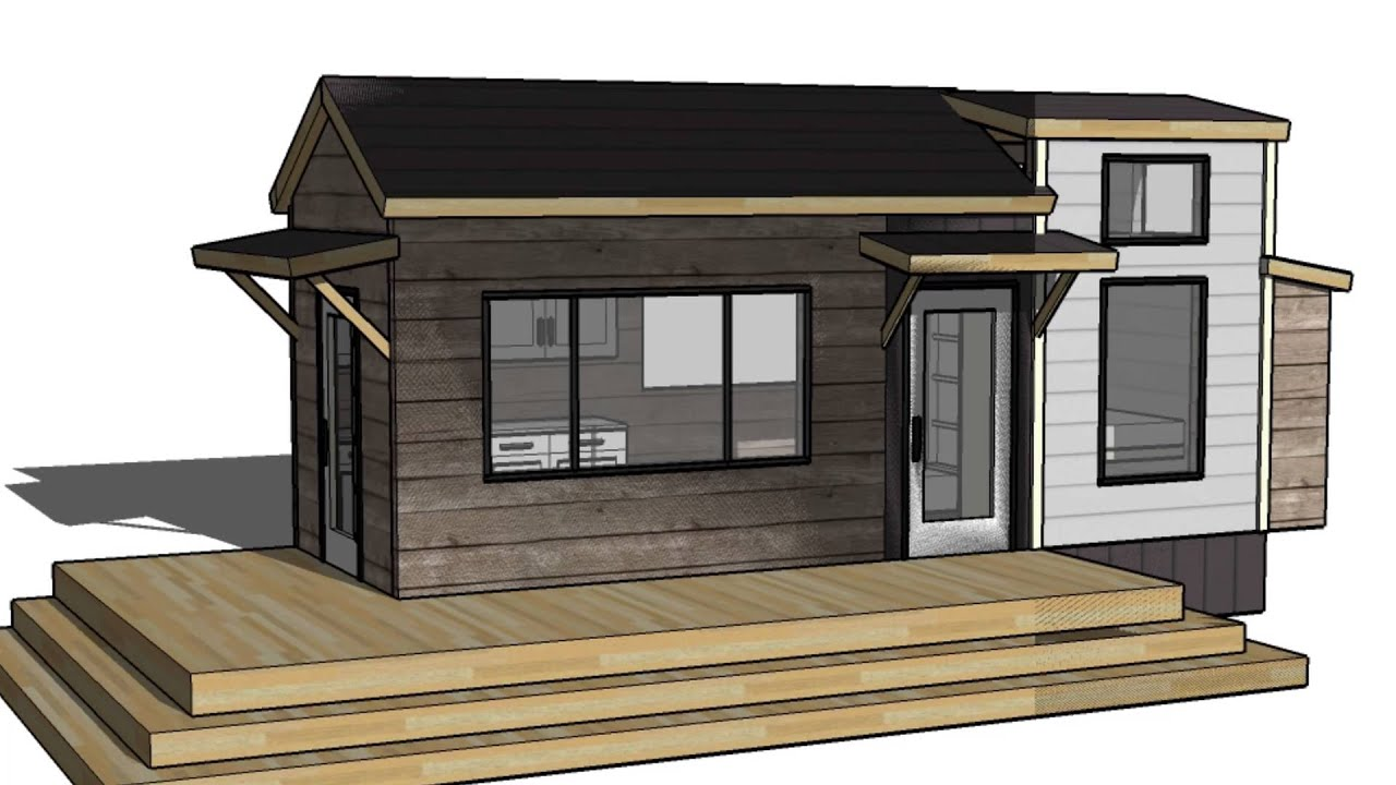 Tiny Vacation Home Design Floorplan Layout With Guest Bed