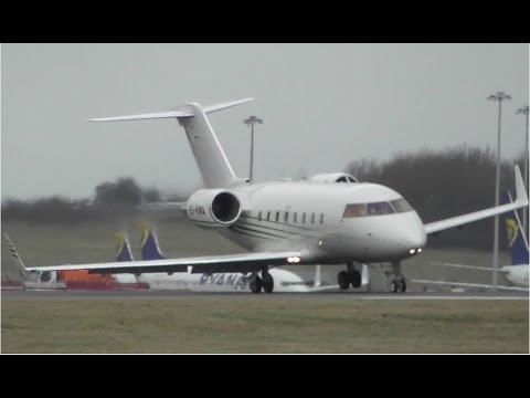 NEAR WINGSTRIKE | Challenger 604 EI-KMA at Stansted Airport
