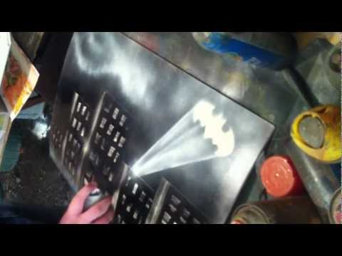 batman spray paint art by nathan salmon youtube. Black Bedroom Furniture Sets. Home Design Ideas
