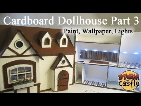 Make a Cardboard Dollhouse Part 3: Painting, Wallpapering, details and  lights