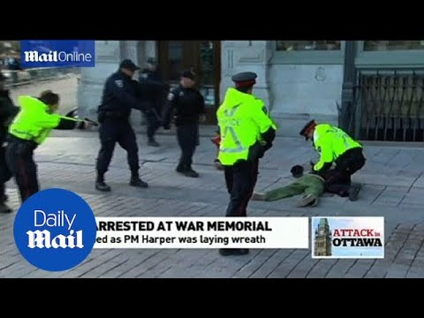 Man Tackled By Police In Ottawa As PM Harper Lays Wreath - Daily Mail
