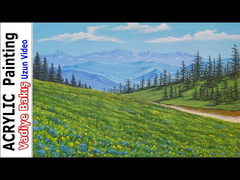 -Resim Nasıl Çizilir Yapılır | Dağ / Bulut / Çam Ağacı / Kır  | Acrylic painting / Landscape painting