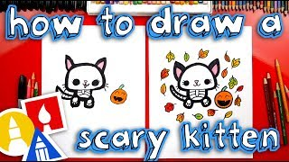 How To Draw A Cute Scary Kitten Skeleton