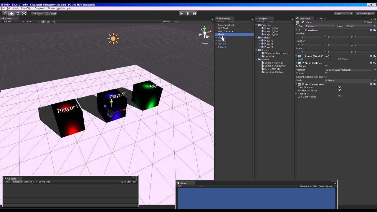 Character Selection and World Instantiation - Unity Engine