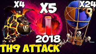 5 SKELETON SPELL + QuadLaLoon: NEW TH9 STRONG WAR ATTACK STRATEGY 2018 | Clash of Clans