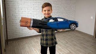 Превратил новую машинку Теслу из батарейки. Видео для детей.