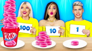 100 LAYERS FOOD CHALLENGE || Best Jelly Eyes Mukbang by RATATA COOL