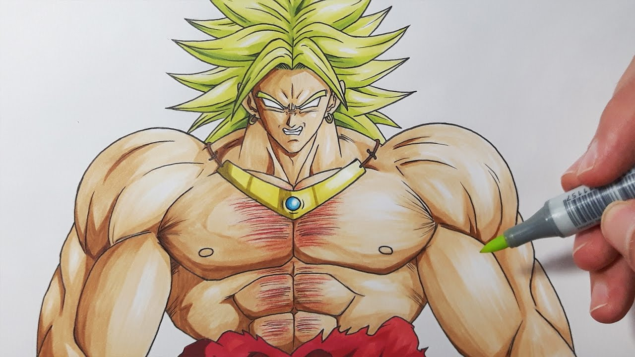 How To Draw Broly The Legendary Super Saiyan  Step By Step Tutorial!
